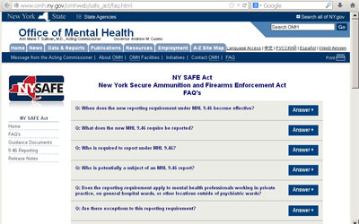 This is a link to the NY Office of Mental Health FAQs: